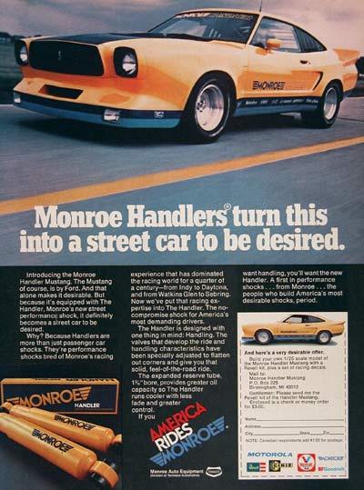 Publicité pour les amortisseurs Monroe's Handler series street performance. Crédits : mustangattitude.com